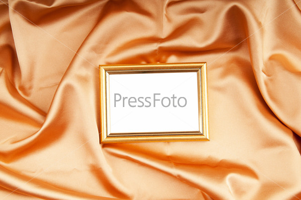 Picture frames on the color satin background