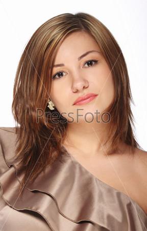 Beautiful girl in the beige dress i