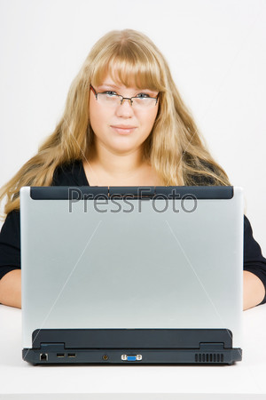 blonde with a laptop