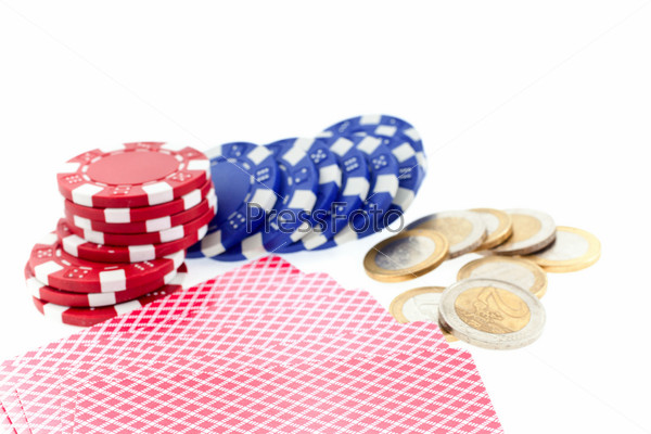 poker chips, cards and euro coins