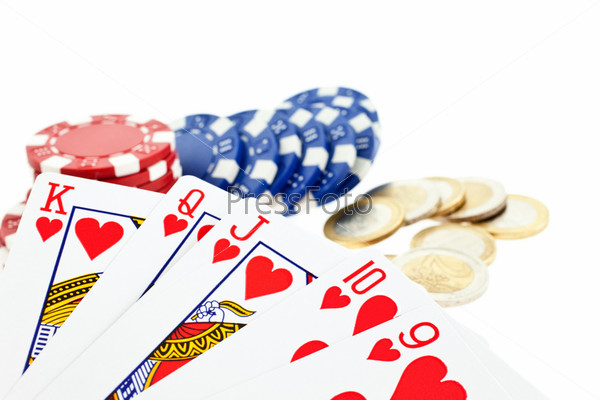 playing cards, multicolor poker chips and euro coins