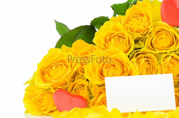 Букет желтых роз с запиской
