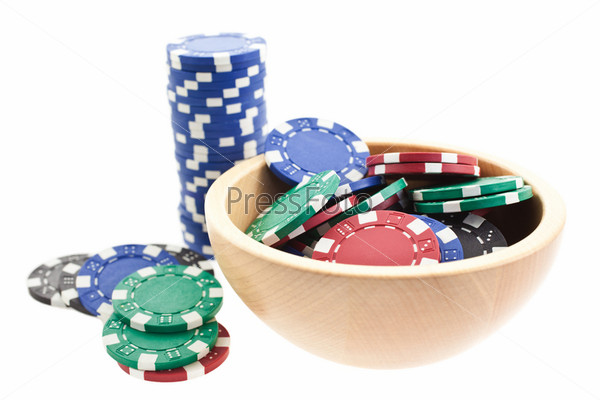 multicolor poker chips bowl