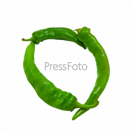 Letter O composed of green peppers