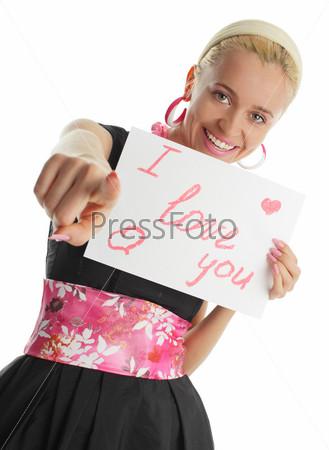 Фото девушки с надписью люблю