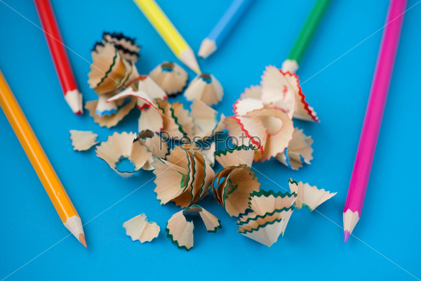 pencil shavings on blue close up