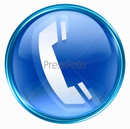 Синяя веб-иконка с изображением телефонной трубки на белом фоне