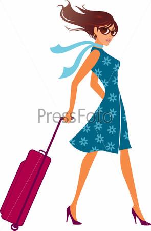 Девушка с дорожной сумкой фото