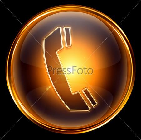 Золотая веб-иконка с изображением телефонной трубки на черном фоне