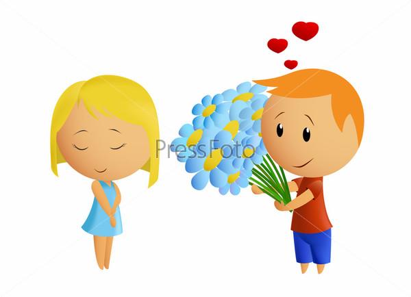 Мальчик дарит цветы 48
