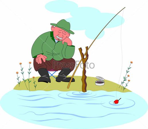Как нарисовать дедушку на рыбалке