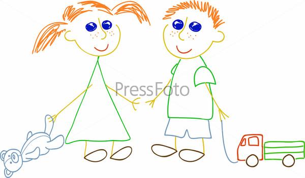 картинки мальчика и девочки нарисованные