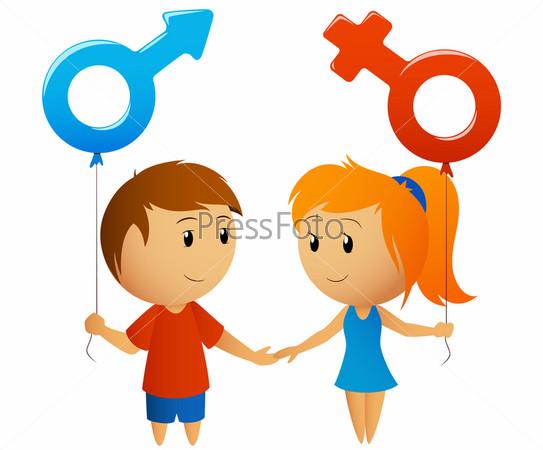 картинки мультяшные девочка и мальчик