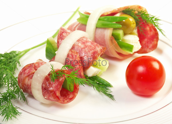 Canape platter with cheese smoked sausage for Canape platters