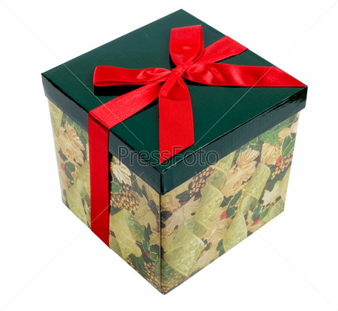 Фотография на тему Подарочная коробка с красной лентой, изолированная на белом фоне