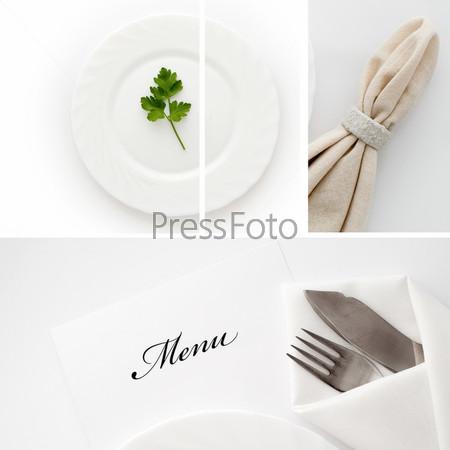 Фотография на тему Тарелка с петрушкой, салфетка, меню и столовое серебро
