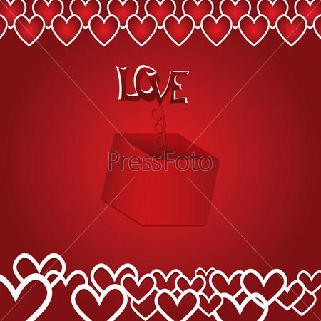 Подарок со словом ЛЮБОВЬ на красном фоне с сердцами