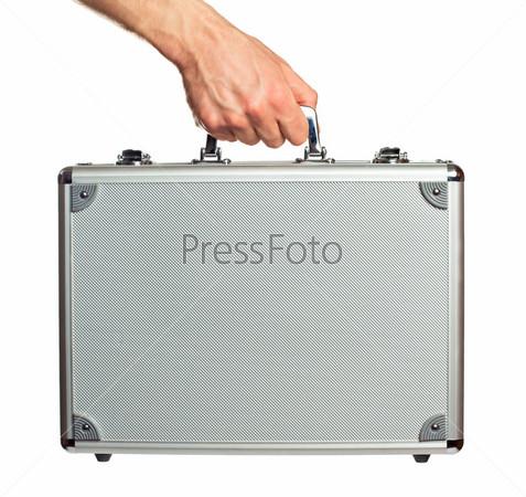 Фотография на тему Серебристый металлический кейс в руке, изолированный на белом фоне