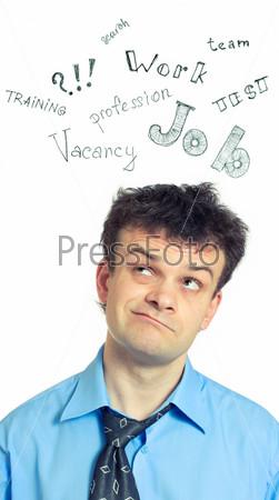 Портрет забавного бизнесмена в поиске вакансии, изолированного на белом фоне