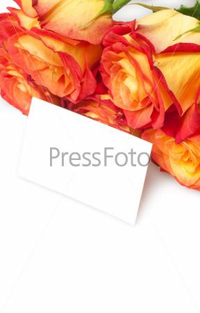 Розы с пустой карточкой