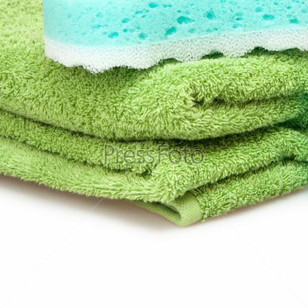 Фотография на тему Разноцветные полотенца и губка