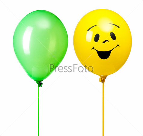 Фотография на тему Два воздушных шара, изолированных на белом фоне
