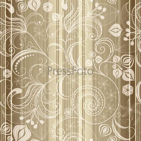 Золотой бесшовный полосатый шаблон с прозрачными цветами