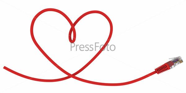 Сетевой кабель, завитый в форме сердца