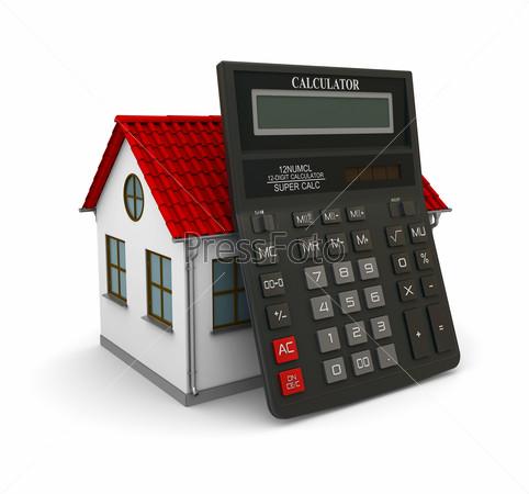 Калькулятор опирается на небольшой дом с красной крышей