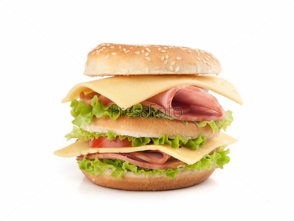 Фотография на тему Сэндвич, изолированный на белом фоне