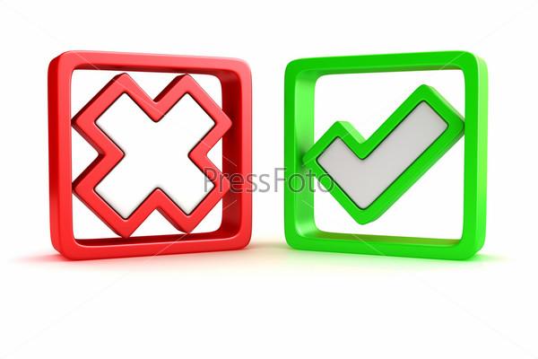 Зеленая галочка и красный крестик