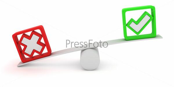 Качели с красным крестиком и зеленой галочкой