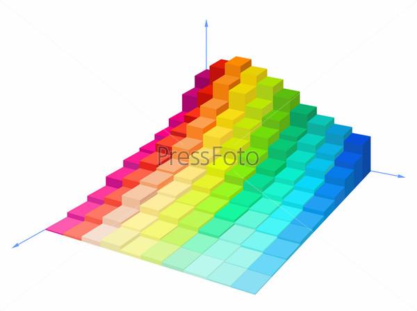 Объемная разноцветная диаграмма на белом фоне
