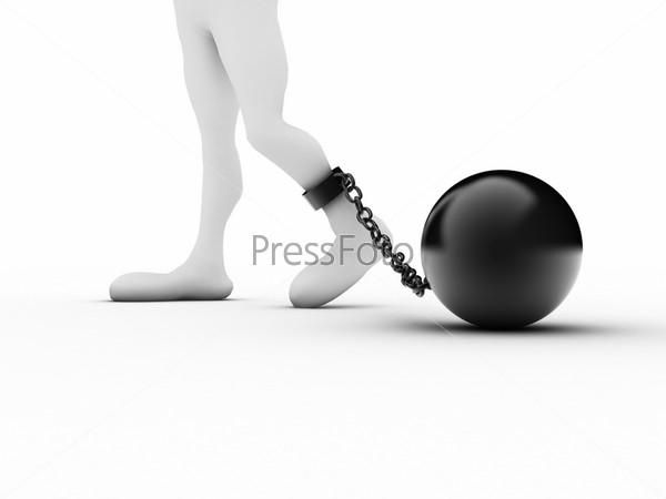 Нога осужденного в кандалах на белом фоне