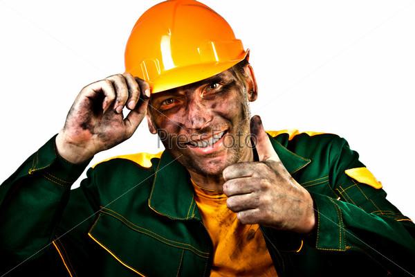 Работник нефтяной промышленности на белом фоне