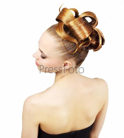 Фотография на тему Женщина с творческой прической, изолированная на белом фоне
