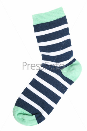 Фотография на тему Полосатый носок, изолированный на белом фоне
