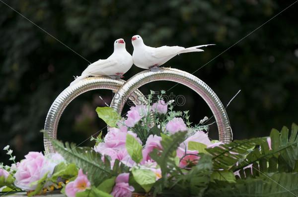Свадебное оформление машины с кольцами и голубями