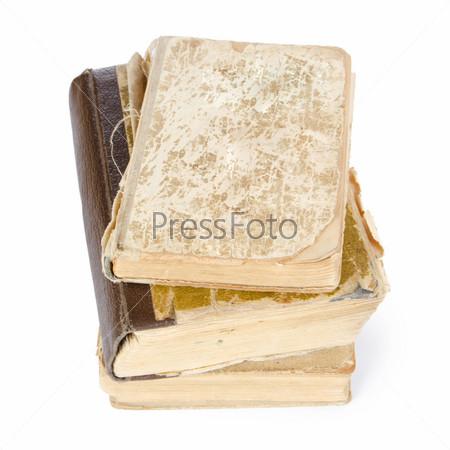 Фотография на тему Стопка старых книг, изолированная на белом фоне