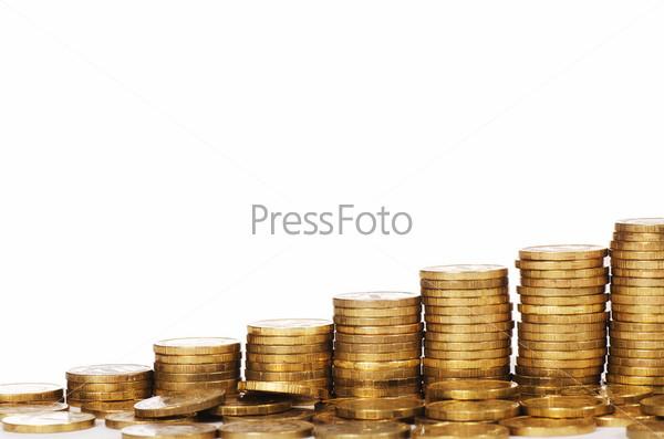 Фотография на тему Будильник и деньги, изолированные на белом