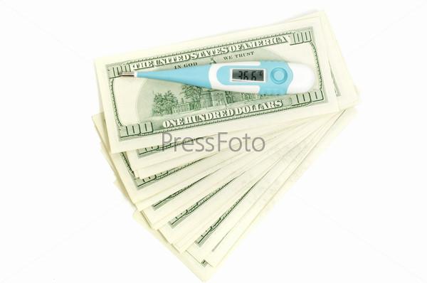 Медицинский термометр на долларах показывает 36,6