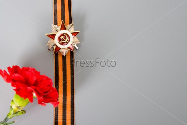 Орден Отечественной войны, лента Святого Георгия и гвоздика на сером фоне