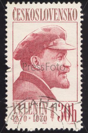Фотография на тему Почтовая марка СССР, выпущенная в Чехословакии, 1967 года с портретом В.И. Ленина