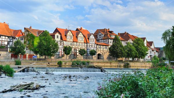 Фотография на тему Идиллический город Ханн Мюнден на берегу реки Фульда, известный своей красивой фахверковой архитектурой. Германия