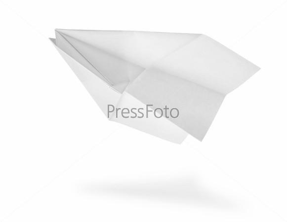 Самолет из бумаги, изолированный на белом фоне