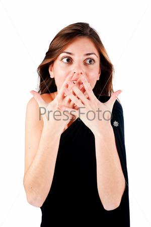 Фотография на тему Молодая женщина закрывает рот руками, изолированная на белом фоне