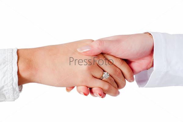 Рукопожатие женских рук, изолированное на белом фоне