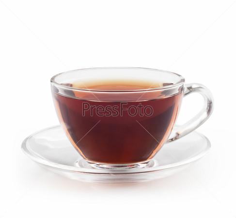 Чай в чашке, изолированный на белом фоне