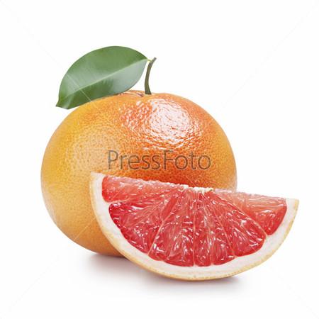 Фотография на тему Свежие грейпфруты, изолированные на белом фоне