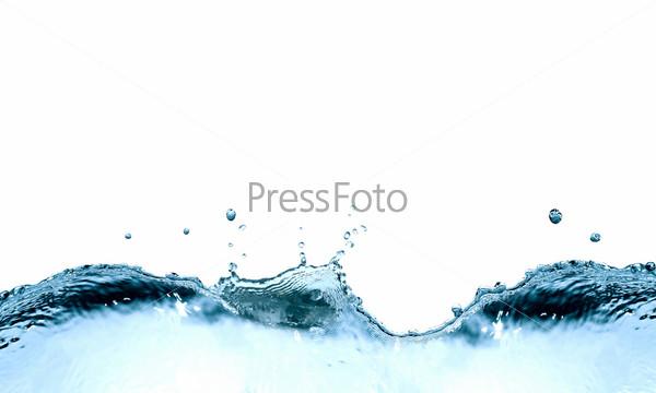 Фотография на тему Абстрактные брызги воды на белом фоне